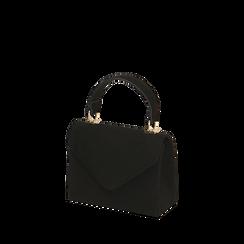Borsa con manico nera in microfibra, IDEE REGALO, 165122442MFNEROUNI, 002a