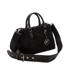 Borsa a mano nera in eco-shearling, Primadonna, 125786551EPNEROUNI, 003 preview