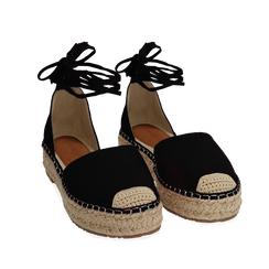 WOMEN SHOES ESPADRILLAS MICROFIBER NERO, Chaussures, 154930501MFNERO035, 002a