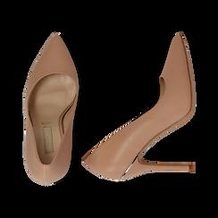 Décolleté nude in eco-pelle con punta affusolata, tacco stiletto 11 cm, Scarpe, 132146861EPNUDE041, 003 preview
