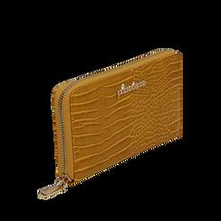 Portafogli giallo in eco-pelle effetto cocco , Borse, 142200896CCGIALUNI, 002a