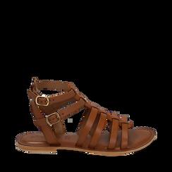 Sandali cuoio in pelle, 156707420PECUOI035, 001a