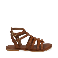 Sandali cuoio in pelle, Chaussures, 156707420PECUOI035, 001a