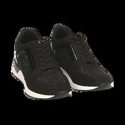 Sneakers nere in tessuto tecnico, zeppa 4 cm , Primadonna, 162826824TSNERO036, 002 preview