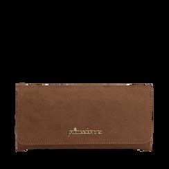 Portafogli taupe in microfibra, Borse, 142200002MFTAUPUNI, 001a