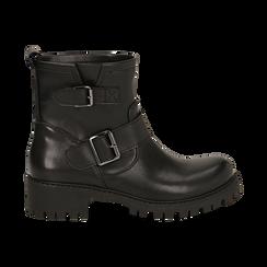 Biker boots con fibbie neri in eco-pelle, tacco 4,5 cm , Stivaletti, 140585663EPNERO036, 001 preview