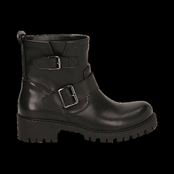 Biker boots con fibbie neri in eco-pelle, tacco 4,5 cm , Stivaletti, 140585663EPNERO036