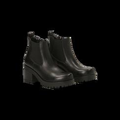 Chelsea Boots neri con suola alta, tacco 3 cm, Primadonna, 122806571EPNERO, 002 preview