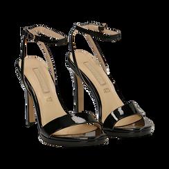 Sandali neri in vernice, tacco stiletto 11 cm,