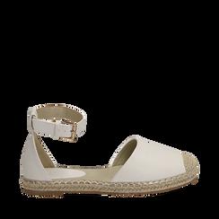 Espadrillas bianche in eco-pelle con cinturino, Primadonna, 154905188EPBIAN035, 001a