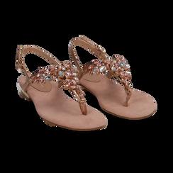 Sandali gioiello infradito nude in microfibra, Primadonna, 134994221MFNUDE, 002 preview