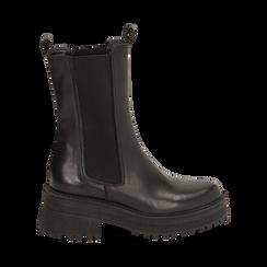 Chelsea boots neri in pelle di vitello, suola 6 cm , Primadonna, 168915835VINERO036, 001 preview