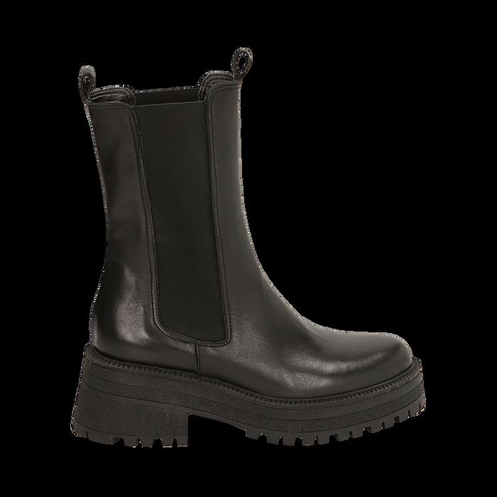 Chelsea boots neri in pelle di vitello, suola 6 cm , Primadonna, 168915835VINERO036