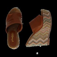 Mules platform cuoio in eco-pelle, zeppa intrecciata 13 cm, Primadonna, 132117214EPCUOI035, 003 preview