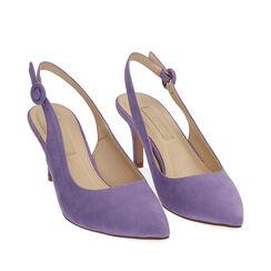Slingback lila de microfibra, tacón 7 cm, Zapatos, 172133673MFLILL038, 002a