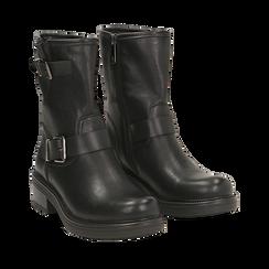 Biker boots con fibbie neri in eco-pelle, tacco 4,5 cm , Stivaletti, 14A702711EPNERO035, 002a