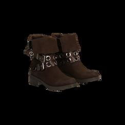 Stivaletti con Fibbie e Borchie - Biker Boots, 12A700272MNMARR036, 002
