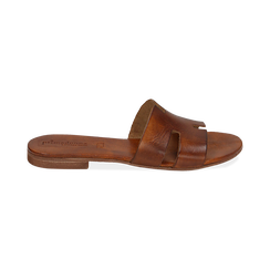 Ciabatte cuoio in pelle di vacchetta, Scarpe, 157245049VACUOI036, 001 preview