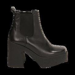 Ankle boots con plateau neri in pelle di vitello, tacco 11 cm , Primadonna, 160202020VINERO040, 001 preview