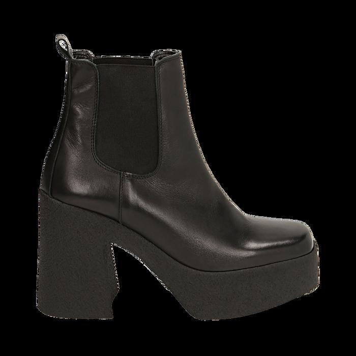 Ankle boots con plateau neri in pelle di vitello, tacco 11 cm , Primadonna, 160202020VINERO040