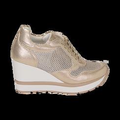 Sneakers en laminado con cuña color dorado , Zapatos, 152882661LMOROG039, 001 preview