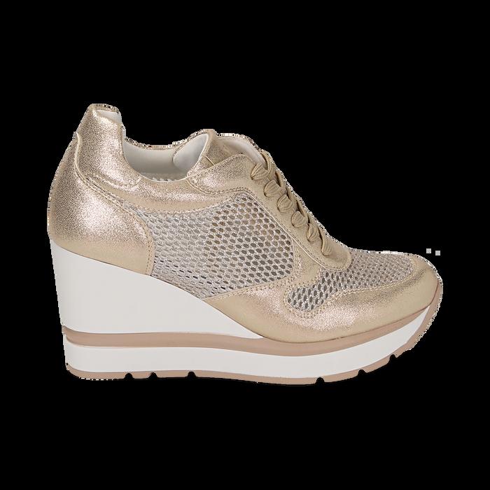 Sneakers en laminado con cuña color dorado , Zapatos, 152882661LMOROG039