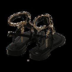 Sandali infradito neri con pietre , OPORTUNIDADES, 154988245EPNERO036, 004 preview
