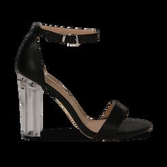 Sandali neri in eco-pelle, tacco plexi 10 cm , Sandali con tacco, 132708221EPNERO036, 001 preview