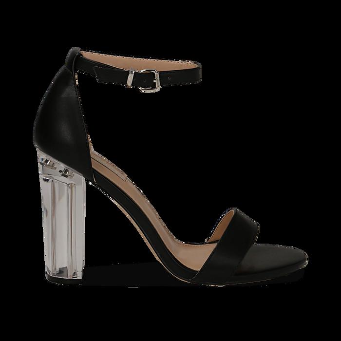 Sandali neri in eco-pelle, tacco plexi 10 cm , Sandali con tacco, 132708221EPNERO036