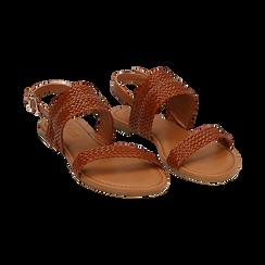 Sandali flat cuoio in eco-pelle intrecciata, Primadonna, 133600111EICUOI036, 002 preview