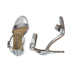 Sandali argento in laminato, tacco stiletto 10 cm , Saldi Estivi, 132127405LMARGE037, 003 preview