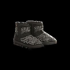 Scarponcini invernali neri con mini borchie, Scarpe, 12A880115MFNERO036, 002