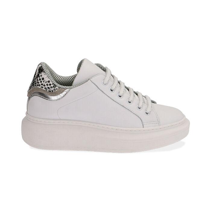 Sneakers bianco/nero in pelle, Primadonna, 17L600103PEBINE035