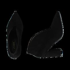 Ankle boots neri in microfibra, tacco 10,50 cm , Primadonna, 162183310MFNERO036, 003 preview