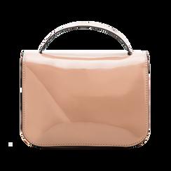 Borsa a tracolla rosa nude in ecopelle vernice, Saldi, 122408030VENUDEUNI, 002 preview