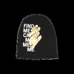Cappello nero in tessuto con stampe, Abbigliamento, 14B406054TSNEROUNI, 001 preview