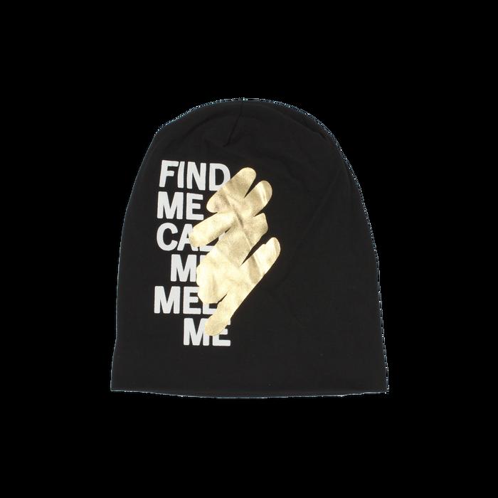 Cappello nero in tessuto con stampe, Abbigliamento, 14B406054TSNEROUNI