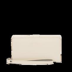 Portafoglio bianco in eco-pelle con laccetto per il polso, Borse, 133723431EPBIANUNI, 001a