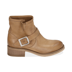Bottines Biker camel en cuir, Chaussures, 157782014PECUOI039, 001 preview