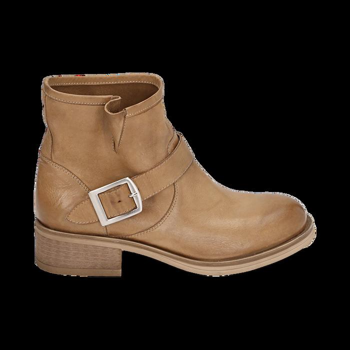 Bottines Biker camel en cuir, Chaussures, 157782014PECUOI039
