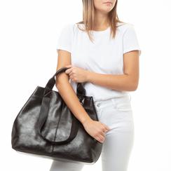 Maxi-bag nera in laminato, 132384211LMNEROUNI, 002a
