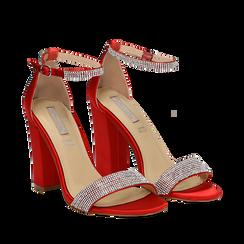 Sandali rossi in raso con mini cristalli, tacco 10,5 cm, Scarpe, 132150553RSROSS035, 002a