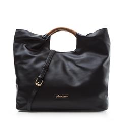 Maxi-bag nera in eco-pelle, con sacca interna, Borse, 132382424EPNEROUNI, 001a