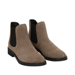 Chelsea boots taupe in camoscio, Stivaletti, 141611243CMTAUP035, 002a
