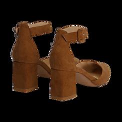Décolleté marrone in microfibra con cinturino alla caviglia, tacco a blocco 6,5 cm, Scarpe, 132182395MFMARR037, 004 preview