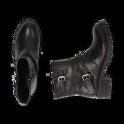 Biker boots neri con fibbie in pelle, tacco 4 cm , Stivaletti, 146262008PENERO036, 003 preview