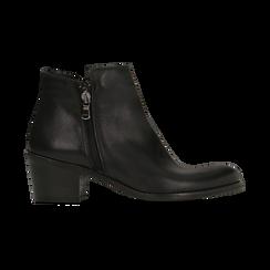 Tronchetti neri in vera pelle con punta western, tacco 3 cm, Primadonna, 128900470VINERO, 001 preview