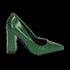 Décolleté verdi eco-pelle effetto coccodrillo, tacco 9,5 cm , Scarpe, 142186671CCVERD036, 001 preview