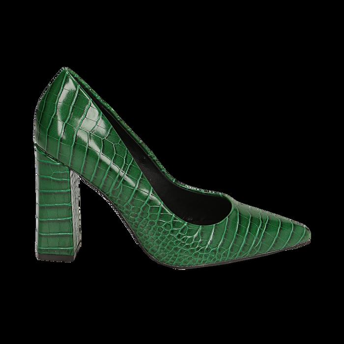 Décolleté verdi eco-pelle effetto coccodrillo, tacco 9,5 cm , Scarpe, 142186671CCVERD036