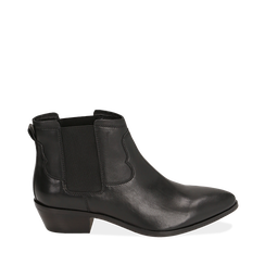 Chelsea boots neri in pelle di vitello, tacco 3,5 cm, Scarpe, 15J492413VINERO035, 001a